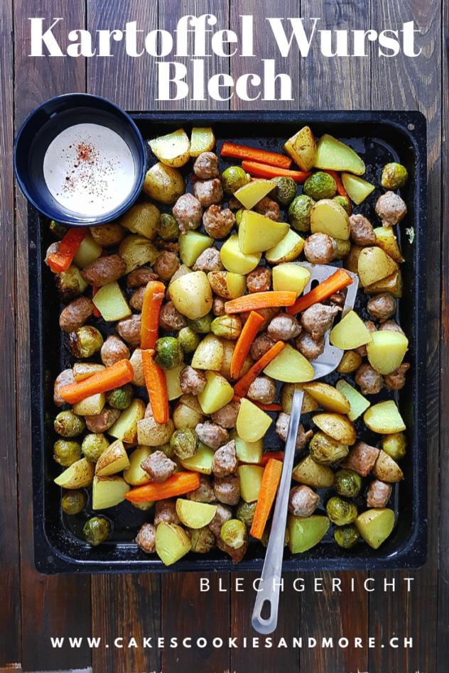 Rezept für Kartoffel Wurst Blech mit Rosenkohl und Karotten - Blechgericht