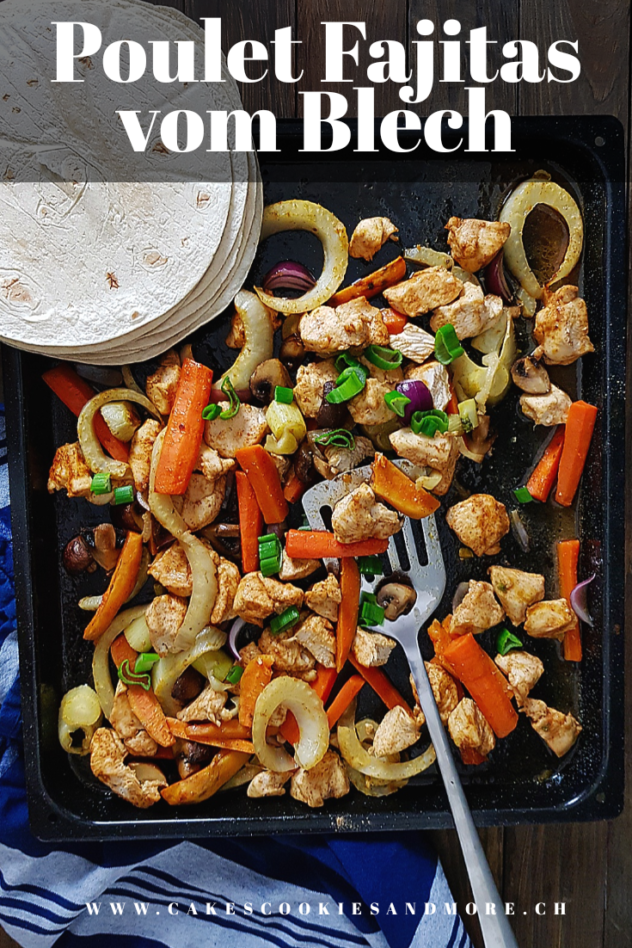 Rezept für Poulet Fajitas mit Wintergemüse vom Blech - Hähnchen mit Fenchel, Süsskartoffeln, Karotten, Pilzen und Zwiebeln