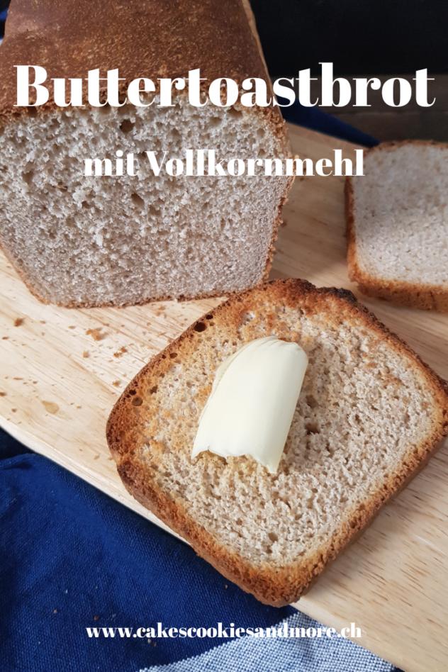 Rezept für Buttertoastbrot mit Vollkornmehl- Hefeteig mit dem Salz-Hefe-Verfahren