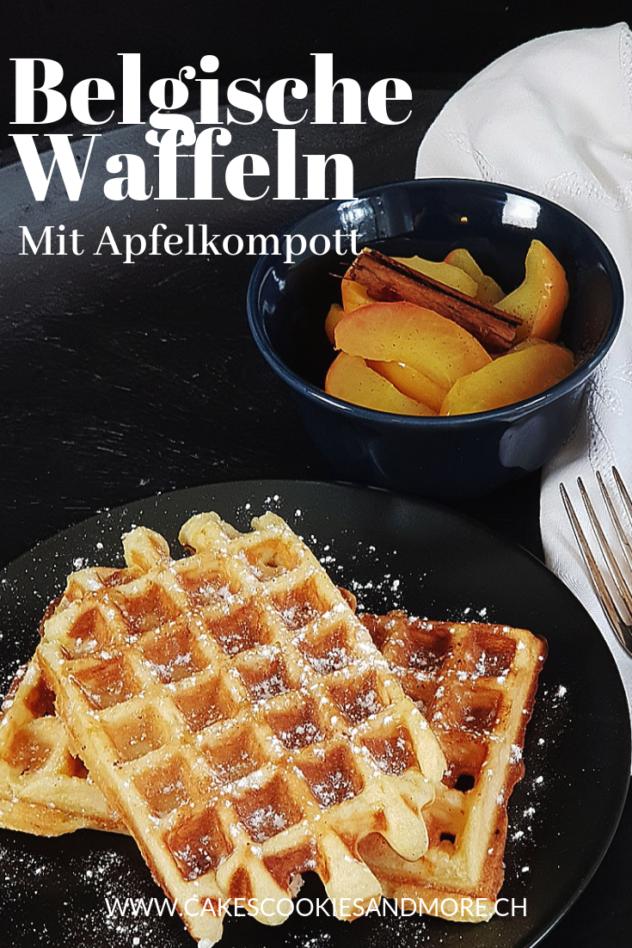Rezept für Belgische Waffeln mit Apfelkompott - Hefeteigwaffeln mit Apfel