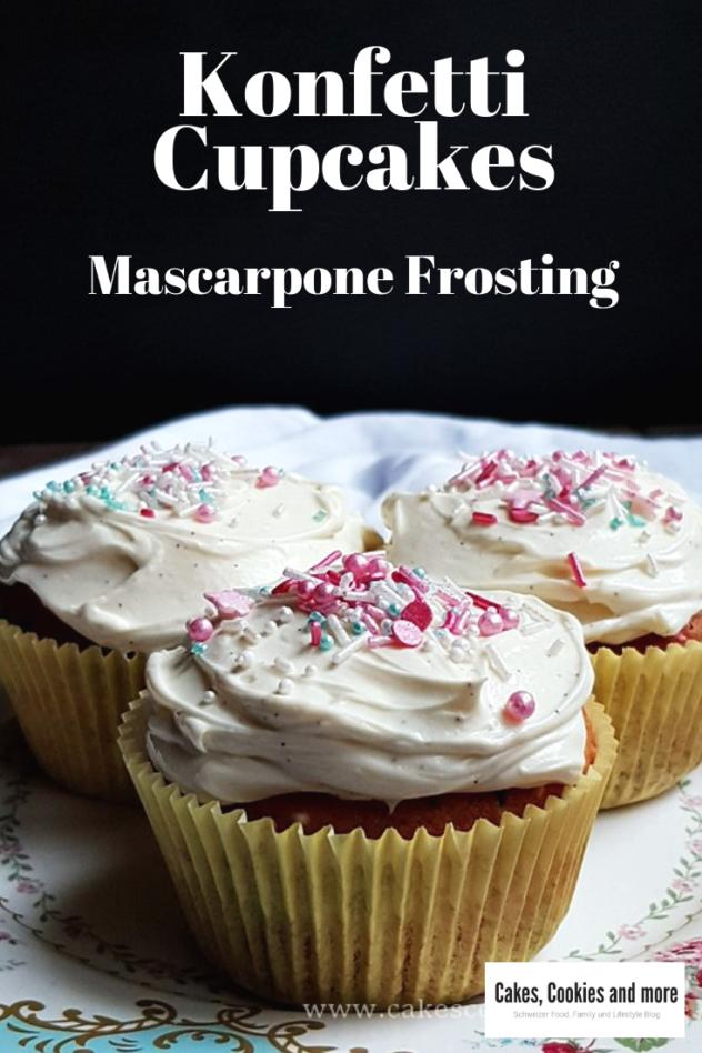 Rezept für Konfetti Cupcakes mit Mascarpone Frosting. Vanille Cupcakes mit Sprinkles.