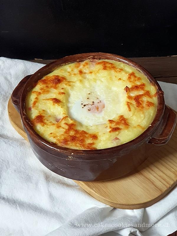 Ofenguck Rezept - Kartoffelstock Gratin mit Schinken und Ei