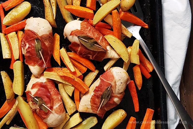 Hühnchen mit Rohschinken und Salbei vom Blech