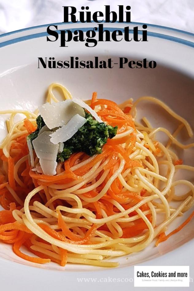 Rezept für Rüebli Spaghetti mit Nüsslisalat-Pesto