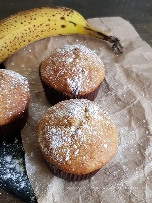 Rezept für Muffins mit Bananen und Schoggimöckli