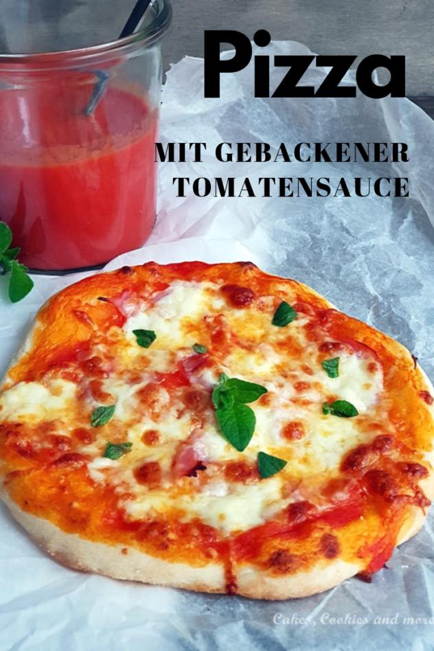 Rezept für selbst gemachte Pizza mit Hefeteig und gebackener Tomatensauce.