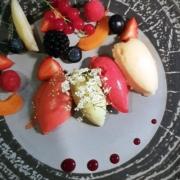 Verschiedene Fruchtsorbet