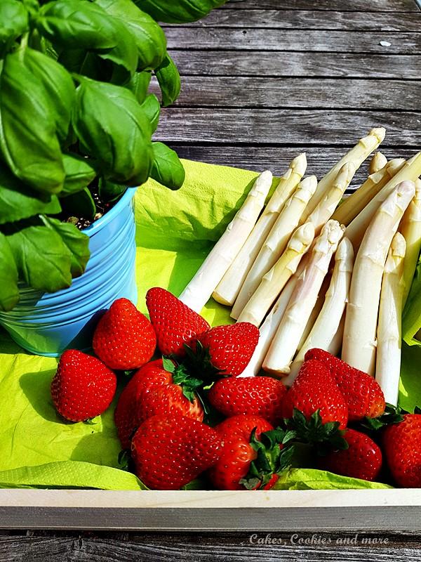 Spargel, Erdbeeren und Basilikum