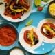 Vegetarische Fajitas mit Pilzen und Peperoni