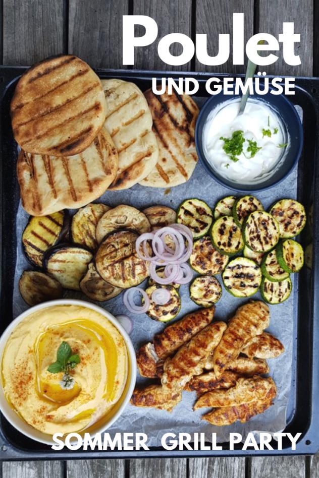 Rezept für Pouletfilet und Gemüse vom Grill. Mit gegrilltem Fladenbrot, Knoblauchdip und Hummus. #grillen #poulet #gemüse