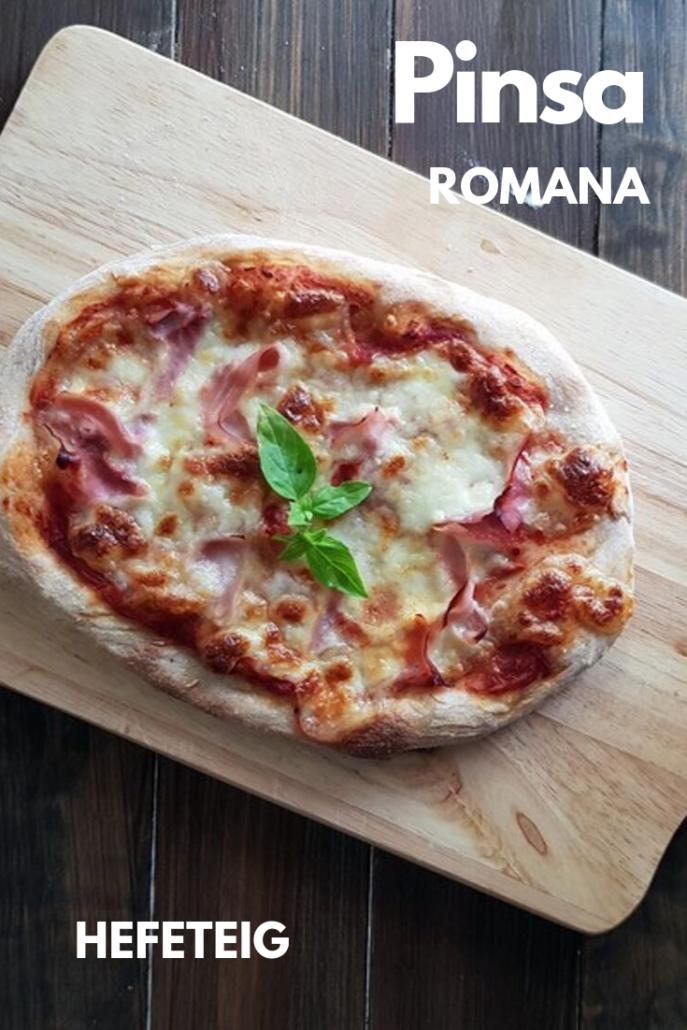 Rezept für Pinsa Romana mit Hefeteig mit Übernachtgare aus Weissmehl, Reismehl und Kichererbsenmehl.