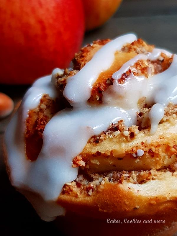 Rezept für Apfel-Nussschnecken mit Hefeteig