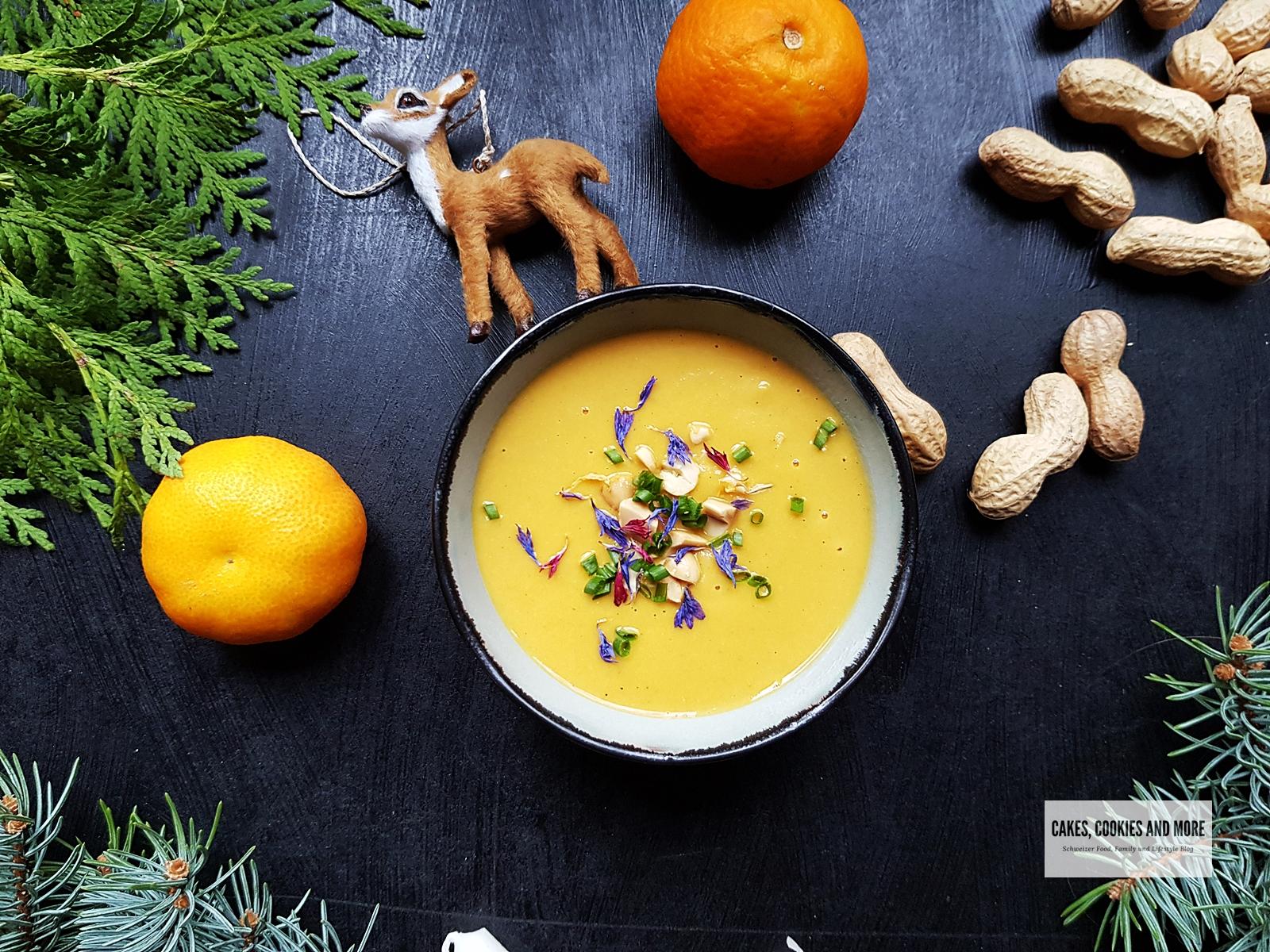 Rezept für Kichererbsensuppe mit Erdnüssen und Mandarinen