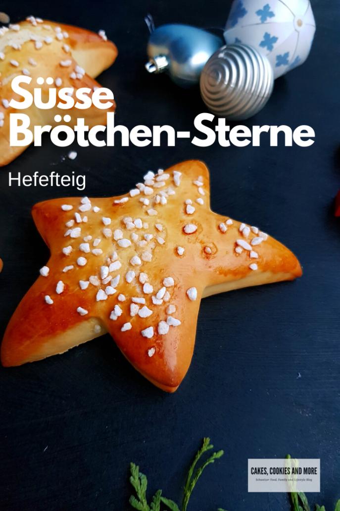 Rezept für süsse Brötchen-Sterne aus Hefeteig