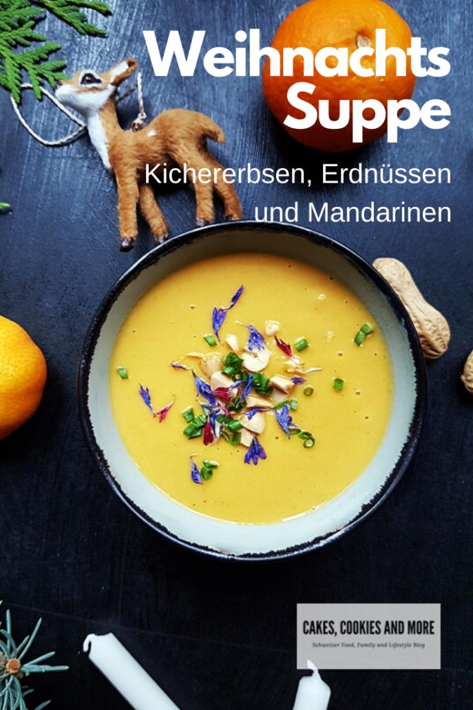 Rezept für Weihnachtssuppe - Kichererbsensuppe mit Erdnüssen und Mandarinen