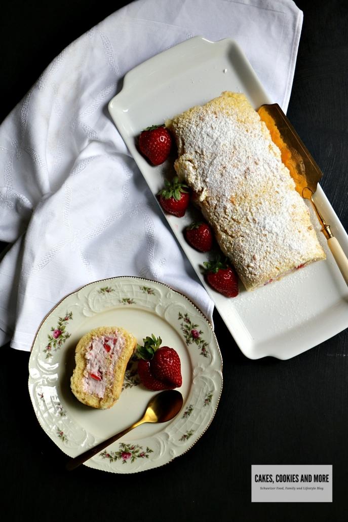 Erdbeer-Roulade
