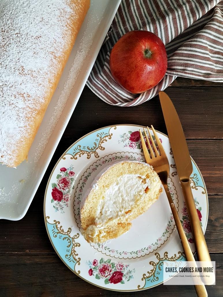 Biskuitroulade mit Äpfeln